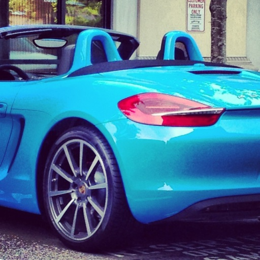 bubble gum blue porsche